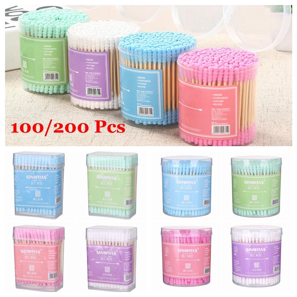 (Hàng Mới Về) Set 100 / 200 Tăm Bông Cotton Tre Dùng Một Lần Chăm Sóc Sức Khỏe