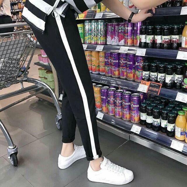 quần baggi sọc trắng thể thao