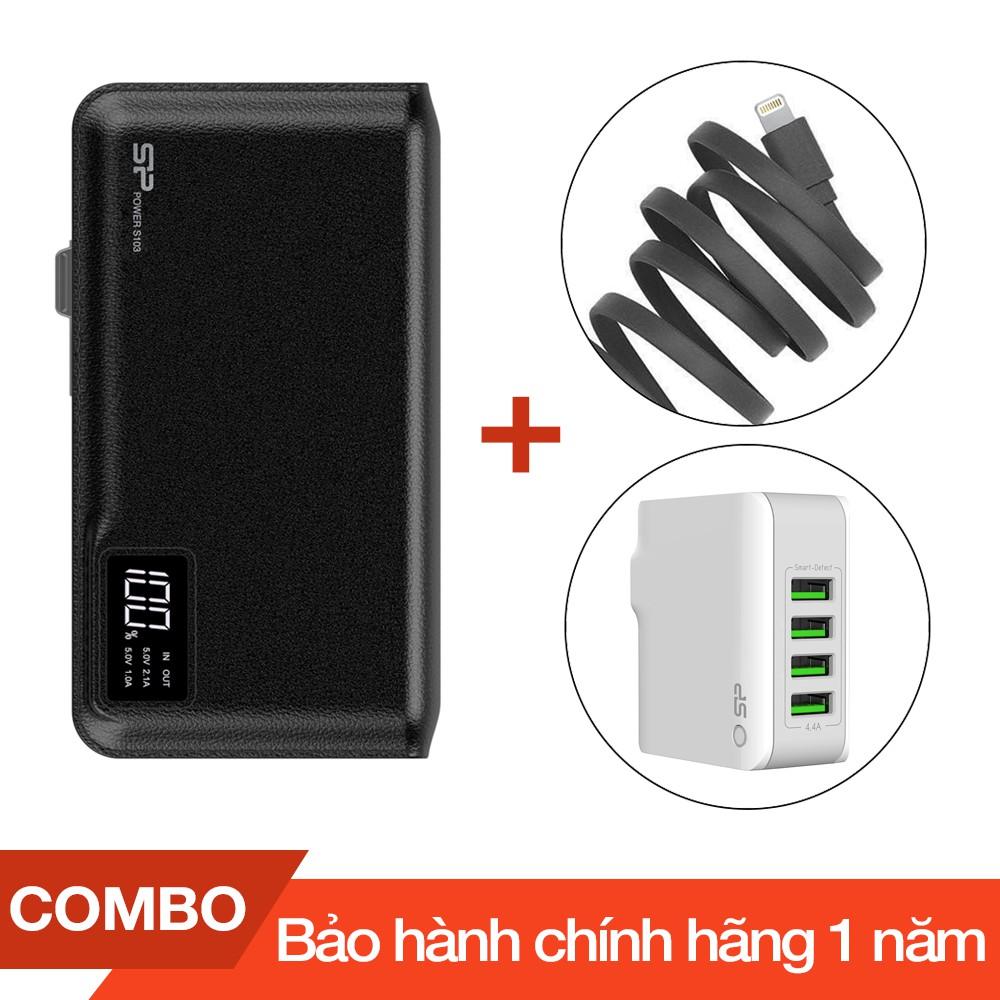 Combo Pin sạc dự phòng 10000mAh S103 Silicon + Cáp sạc lightning Romoss dài 1m + Cốc sạc 4 cổng USB