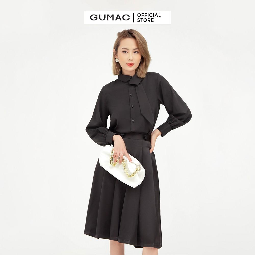 Chân váy xếp ly GUMAC quần ống rộng màu đen cao cấp QB507