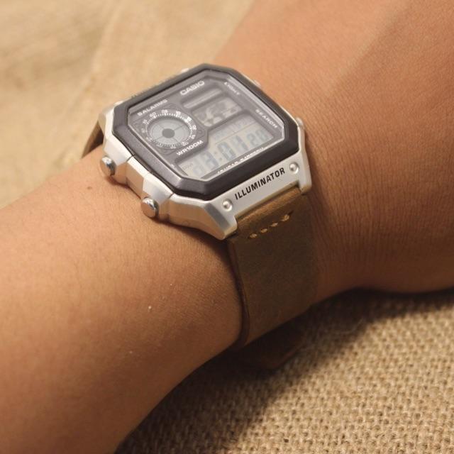 Dây đồng hồ Da cho casio AE1200 - size 18mm - seiko 5/size37