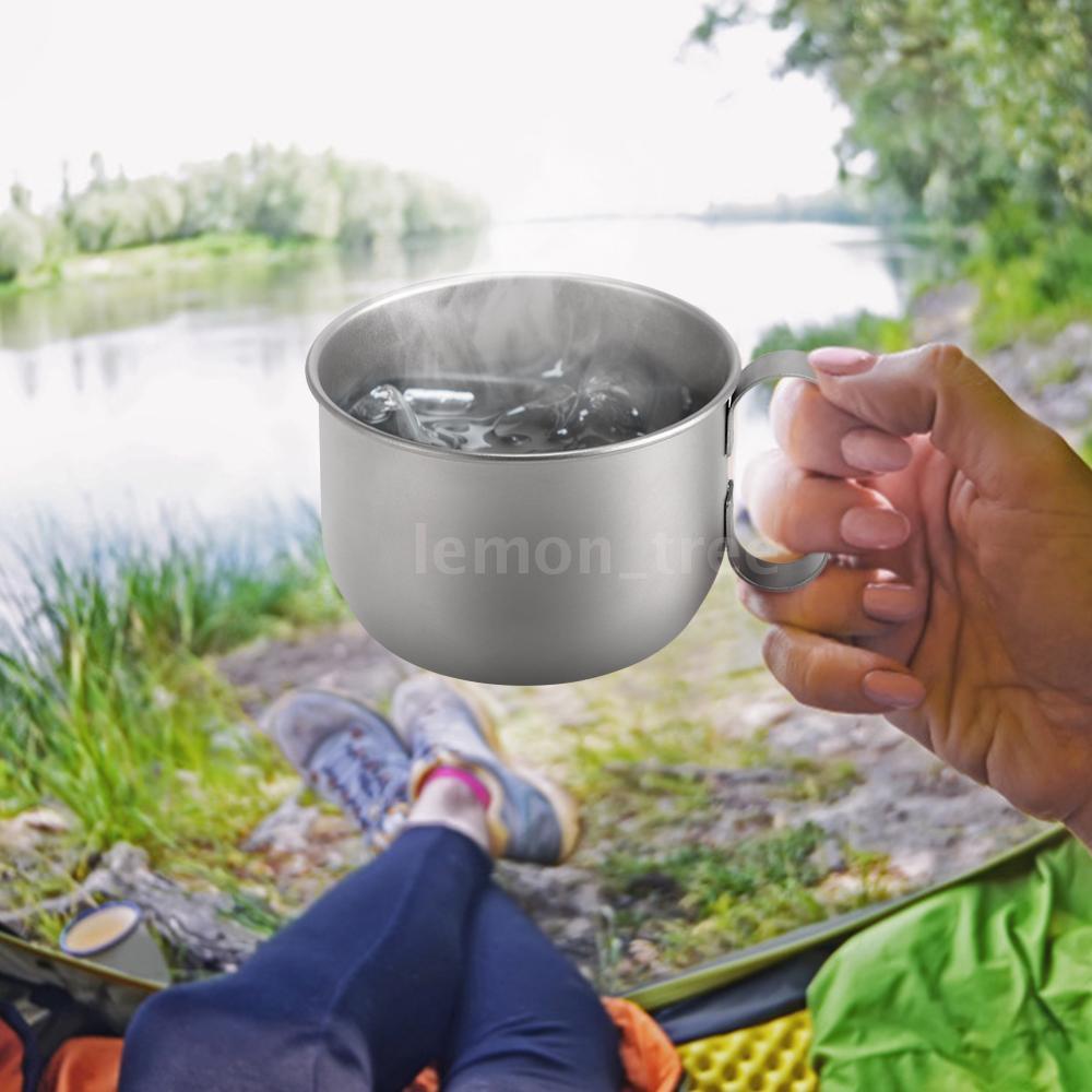 350ML Titanium Cup Super Lightweight Camping Mug Portable Coffee Beer Juice Milk Cup