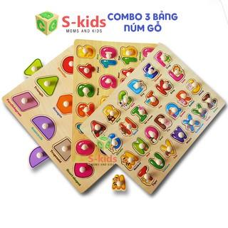 Đồ chơi gỗ - Combo 3 bảng hình núm gỗ hãng Vivitoys