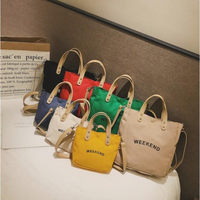 Túi đeo vai phong cách Hàn Quốc chất canvas xinh xắn hợp thời trang cho