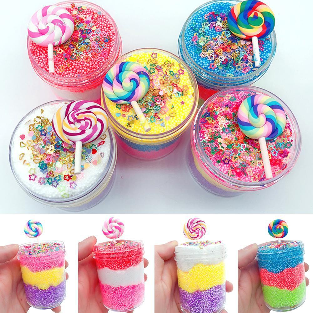 WX_Lollipop Foam Beads Slime Putty Plasticine Sludge Mud Clay Stress Relief Toys