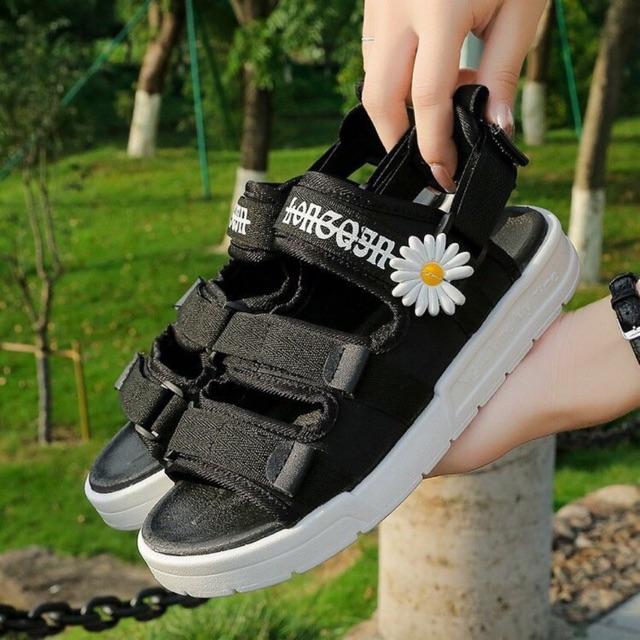 (2 Màu Video) Sandal nữ,sandal học sinh 3 quai hoa cúc vải mêm thời trang