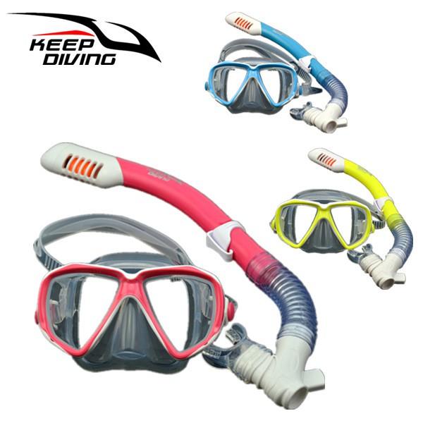 Children Full Dry Silicone Explosion Proof Lens Diving Mask Snorkel Set +