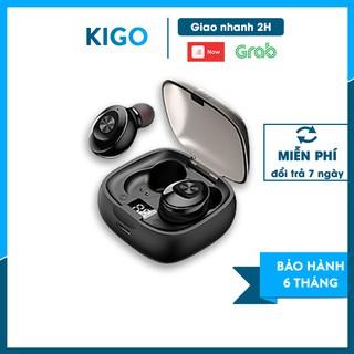 Tai nghe bluetooth 5.0 không dây nhét tai mini thể thao gaming kèm mic chống nước - LED hiển thị pin KiGo P12 thumbnail