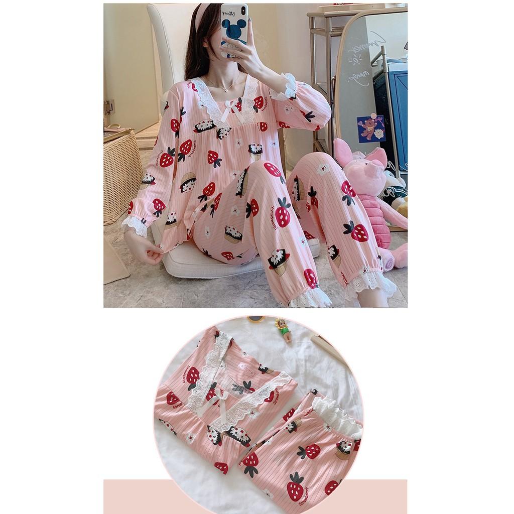 Mặc gì đẹp: Gọn tiện với Bộ Đồ Ngủ Nữ Mặc Ở Nhà - Quần Áo Pijama Dài Tay Vải Cotton Co Giãn 4 Chiều Thu Đông Xuân Dễ Thương Ảnh Thật+Video BĐN15