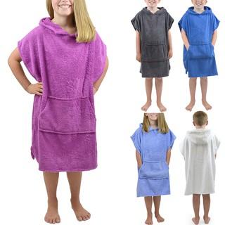 Áo choàng tắm bằng nỉ màu trơn có nón trùm đầu cho bé trai/gái