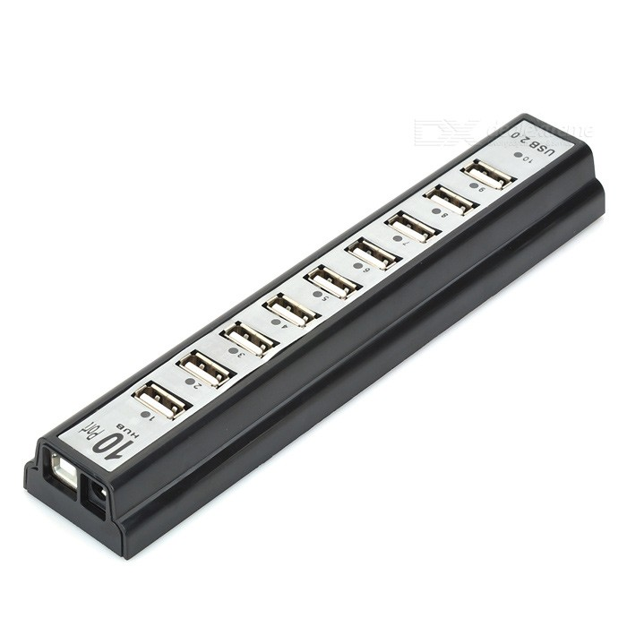 Hub USB 10 cổng chuẩn 2.0 hỗ trợ nguồn ngoài (Đen)-DC1006