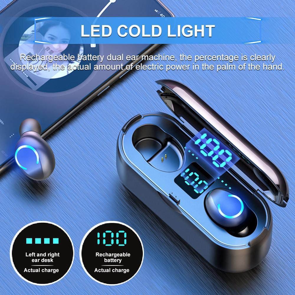 Tai nghe không dây Vitog F9 TWS Bluetooth 5.0 8D có hộp sạc 1500mAh và đèn LED