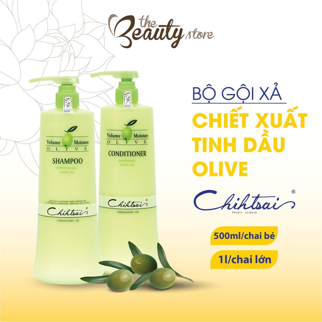 Dầu Gội Xả Dưỡng Mềm Tóc Chihtsai Cấp Ẩm Cho Tóc, Chiết Xuất Từ Tinh Dầu Olive Volume Moisture Olive 500ml- 1000ml