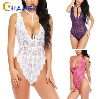 Women's Ladies Bodysuit Sleepwear Nightwear See through Slim fit Body con Lace Underwear Women's Ladies Solid Lingerie
