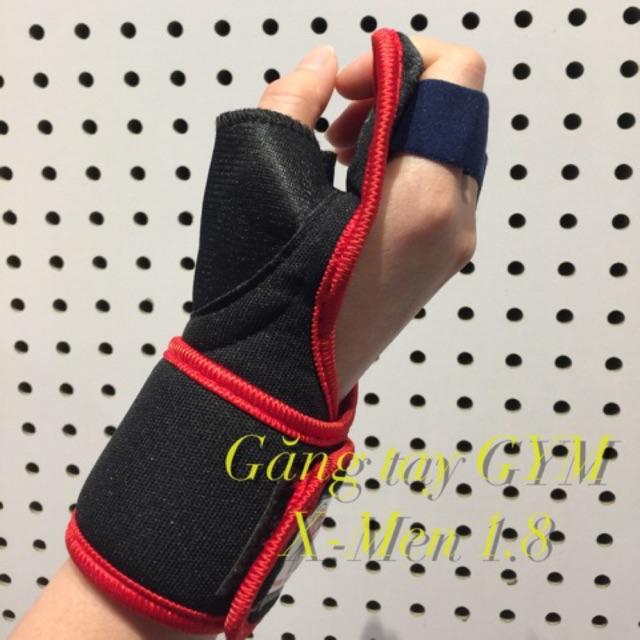 Găng tay tập GYM X-Men 1.8 - Quấn cổ tay trợ lực 2 loại bằng vải và thun - Bao tay thể thao lót thấm hút mồ hôi nhanh