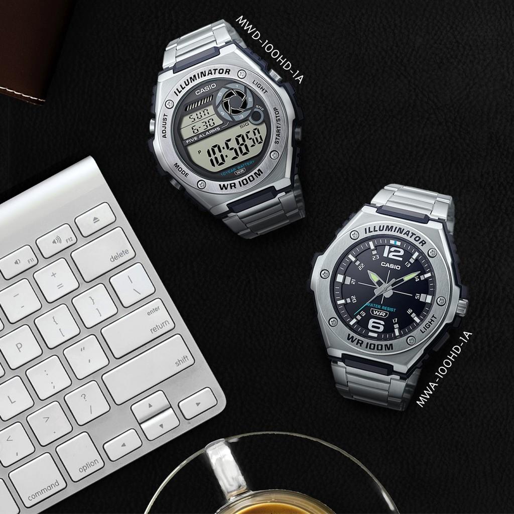 Đồng hồ Nam đây thép Casio MWA-100HD-1AVDF chính hãng bảo hành 1 năm Pin trọn đời