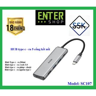 HUB chuyển đổi từ type-c – kết nối ra 5 cổng – SC107 cao cấp tặng kèm túi bảo vệ