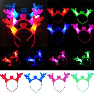 ♕Luminous Christmas Cartoon Deer Horn Antler Hair Hoop Party Supplies Kids Gift