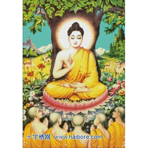 Đức Phật Thuyết Pháp Độ Tỳ Kheo (Vải In Sẵn 100%)
