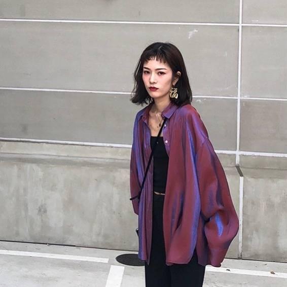 ต้นฤดูใบไม้ร่วงผู้หญิงใหม่เวอร์ชั่นเกาหลีของลมสง่างามหลวมแขนยาวป่าเงือกเสื้อ Ji นักเรียนหญิง ins สังคมน้ำ