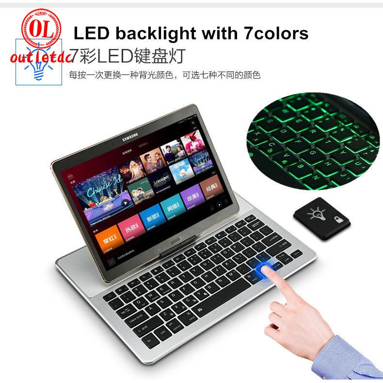 🌟BF- Mobile Tablet Universal Bluetooth Keyboard 7 Color LED For Apple Android ios