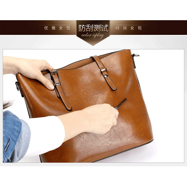 Túi xách da đeo chéo nữ size lớn da bò 32x29x12cm (Đỏ-Đen-Da bò)