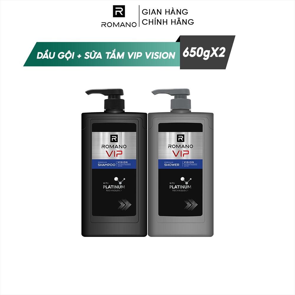 Combo Dầu gội và Sữa tắm cao cấp Romano Vip 650g/chai Vision