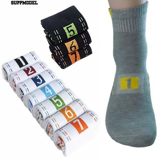 🧦7Pairs Men's Casual Fashion Socks Cotton BlendPrintingPattern Ankle Crew Sock