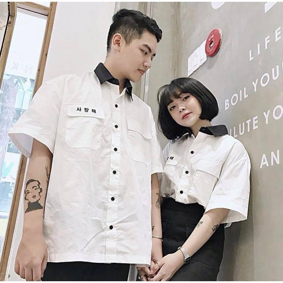 SƠ MI HÀN UNISEX - Sơ mi ngắn tay- Sơ mi nam đẹp, phong cách Hàn Quốc Ngắn tay