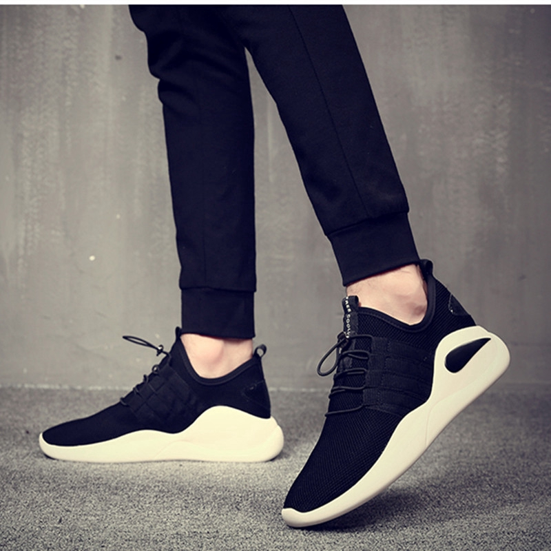 High Quality Korean Men Shoes Lacing Low Thick Sole Sports Shoes Breathable Casual Men Shoes