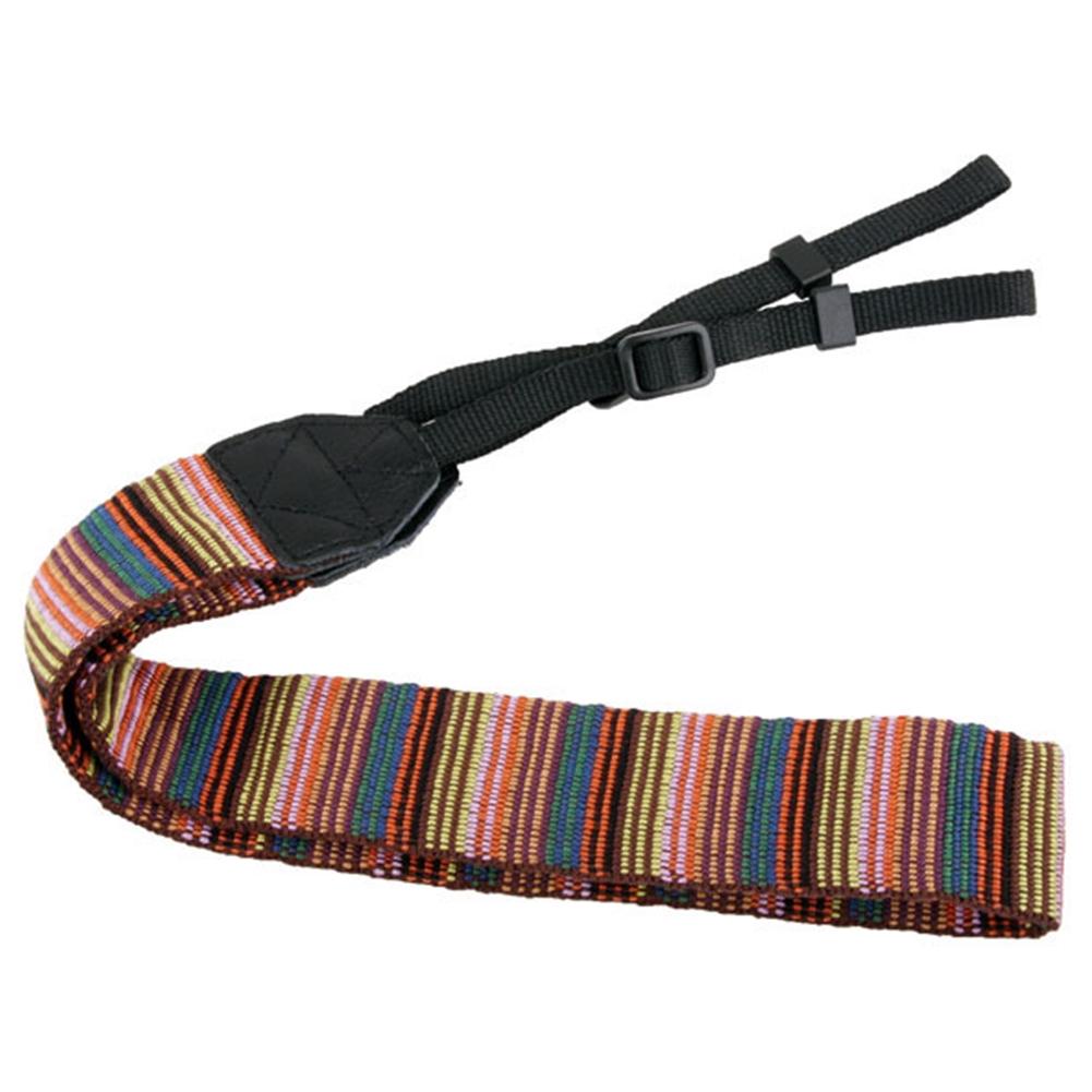 Woven Canvas Anti Lost Non Slip Wear Resistant Colorful Striped Shoulder Retro Adjustable Portable Camera Strap