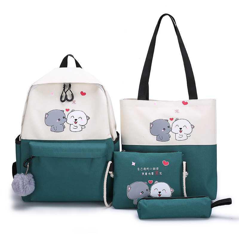 Balo nữ ẢNH THẬT Set gồm 4 món balo túi ví đựng vừa laptop A013
