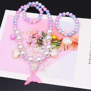 Mermaid Tail Pendant Necklace + Sequin Bracelet Birthday Gift for Girls thumbnail