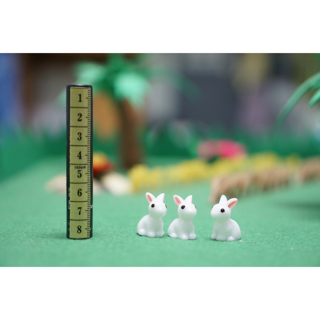 TUV thỏ trắng trang trí nhà búp bê, tiểu cảnh, bonsai charm slime 85