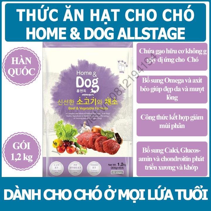 [THỨC ĂN CHÓ HÀN QUỐC] Home And Dog Vị Bò Và Rau - Cho Chó Mọi Lứa Tuổi - Gói 1,2KG