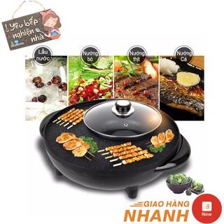 Bếp Lẩu Nướng Tròn Kiểu Hàn Quốc (2 In 1) Công Suất 1600w - Vừa Nướng, Vừa Ăn Lẩu Tiện Dụng