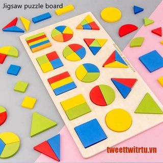 【TrTu】12/15 Grid Shape Cognitive Jigsaw Puzzle Baby Puzzle Board Early Educati