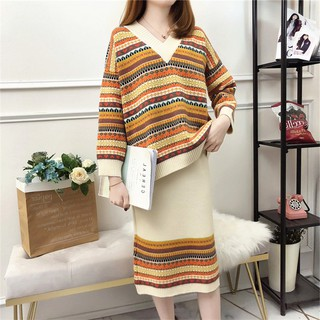 Autumn and winter new sweater skirt two-piece female ethnic style V-neck Western style sweater top K