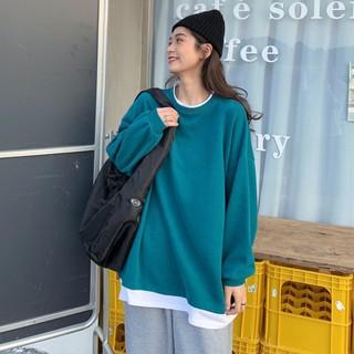 Áo Sweater Dáng Rộng Dài Tay Phối Lớp Ngoài Thời Trang Cá Tính 2021