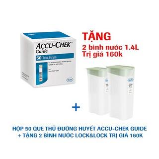 Que thử đường huyết Accu-Chek Guide. Hộp 50 que + Tặng 2 bình nước Lock&Lock trị giá 160k