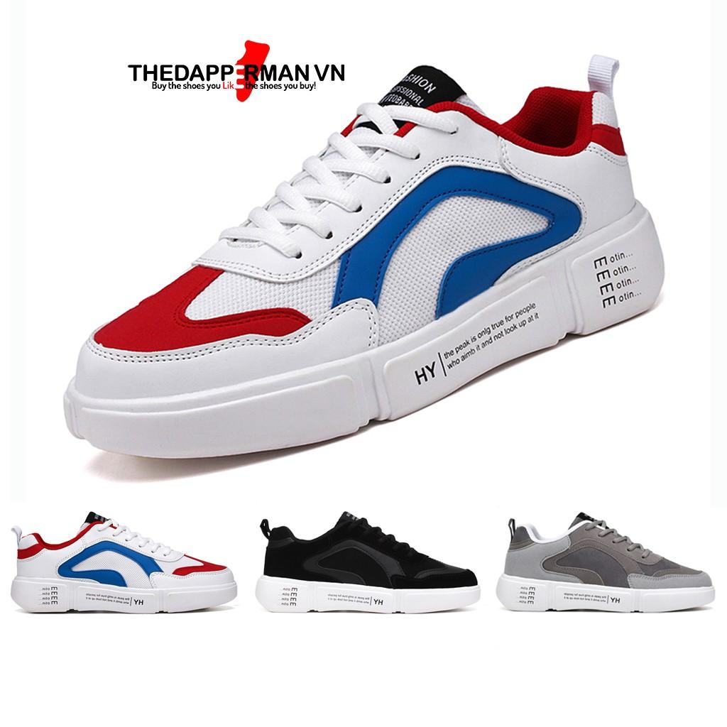 Giày sneaker nam thể thao THEDAPPERMAN WD887 chất liệu da lộn, đế cao su nhiệt dẻo, êm chân, chống trơn trượt, màu trắng