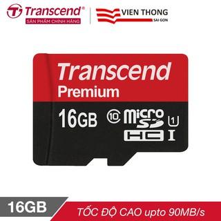 Thẻ nhớ microSDHC Transcend 16GB Premium tốc độ upto 90MB/s (Đỏ) - Hãng phân phối chính thức