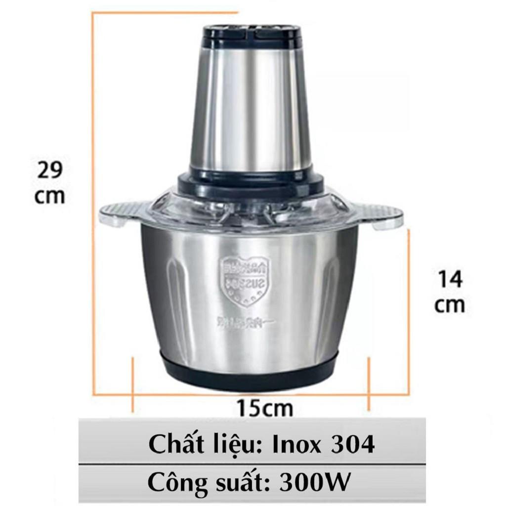 Máy Xay Thịt Đa Năng Cối INOX 304 2L, 4 Lưỡi, Cối Xay Thực Phẩm, Rau Củ Tôm Cua Cá
