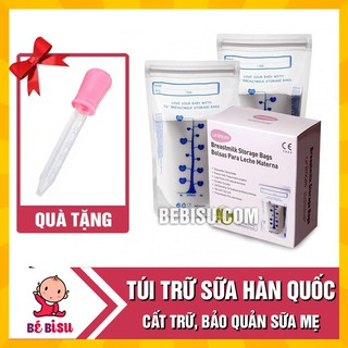 [ Tặng 1 ống hút sữa] – Túi trữ sữa Unimom( hộp 30 túi) Hàn Quốc chính hãng – 210ml