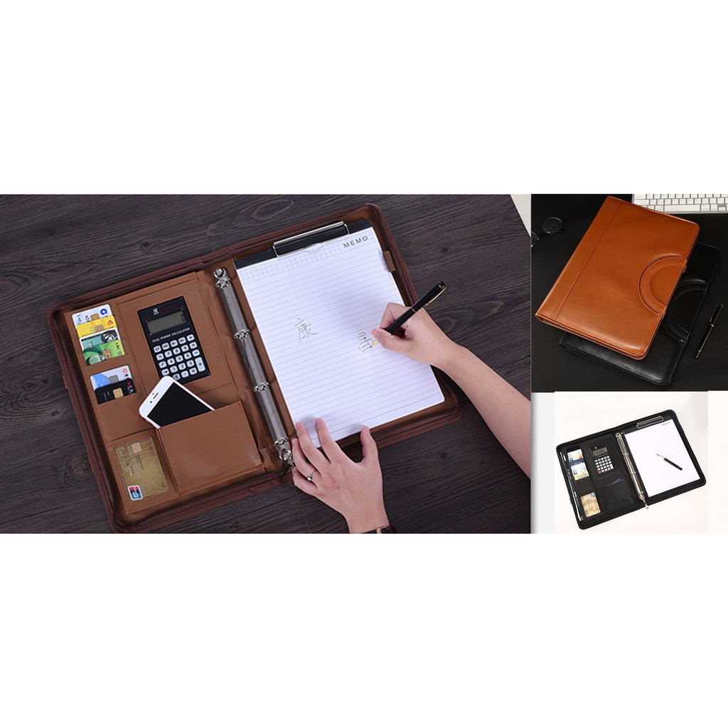 Cặp Đựng Tài Liệu Hồ Sơ Ipad giấy A4 Đa Năng Nhiều Ngăn ( Tặng Máy tính + tệp A4 + Túi hồ sơ trong)   SaleOff247
