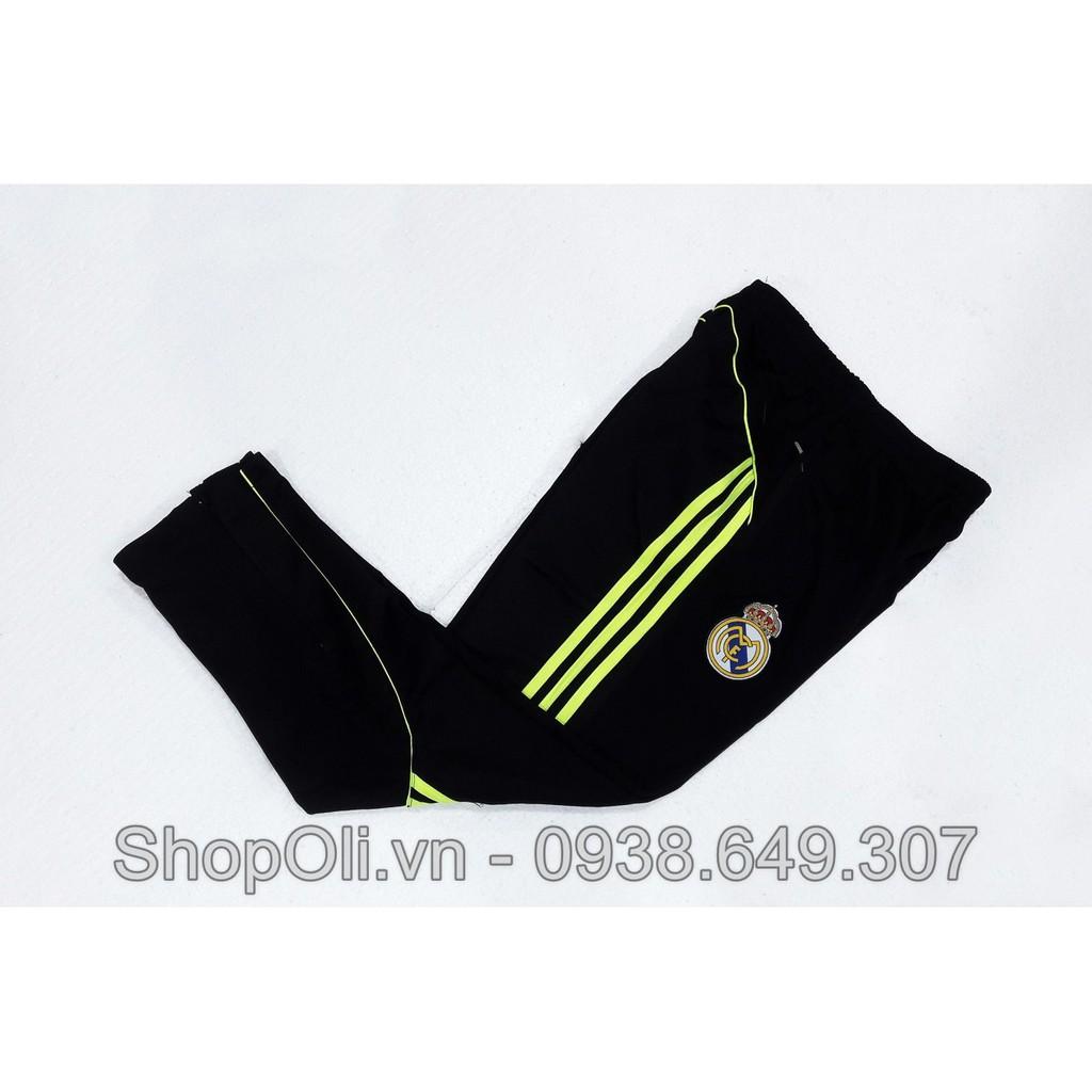 Quần dài thể thao clb Real Madrid ống bó vải nỉ cao cấp - 3 sọc chuối