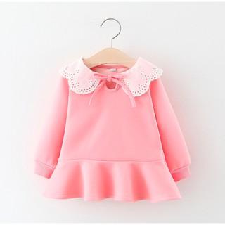 {ẢNH THẬT} Váy lót lông bé gái, váy hồng cổ bèo lót lông