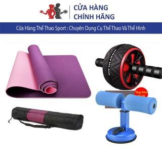 Dụng Cụ Tập Gym Tại Nhà combo 3 sản phẩm thảm tập yoga và chữ T, con lăn gập bụng cao cấp
