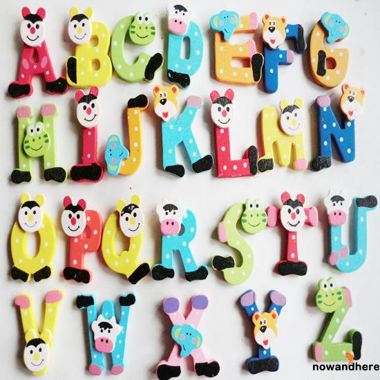 ENH-26 Magnetic Letters A-Z Wooden Fridge Magnets Baby Kid Education Toys