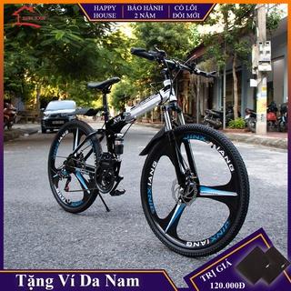 Xe đạp thể thao, xe đạp địa hình gấp gọn BMW mâm bánh đúc khung thép siêu bền phanh đĩa cơ học 7 cấp độ, bảo hành 2 năm, thumbnail